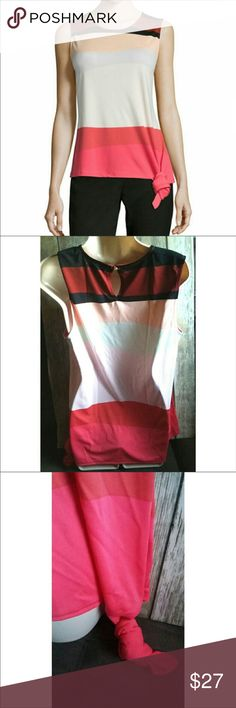 Liz Claiborne Side Knot Blouse Side knot thick stripe tank top. 100% polyester. Stripes are pink (s)  white black and red(s).  New with tags. can be worn for business or pleasure. Tall size . Liz Claiborne Tops Blouses