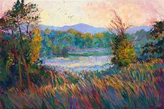 Wine country morning mist, original oil painting by Erin Hanson