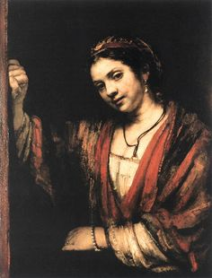Hendrickje Stoffels à janela, 1657 Rembrandt van Rijn (Holanda, 1606 -1669) óleo sobre tela, 76 x 60 cm Staatliche Museen, Berlim   Rembrandt  ♦ Sustentado por ácid..