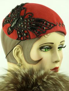 Vintage Hat 1940s Beautiful Red Ladies Tilt Hat with Black Beadwork Butterfly | eBay