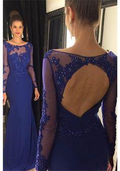 Elegant Blue Long Sleeves Beading Long  Prom Dresses Evening  Dresses  (ED1509)