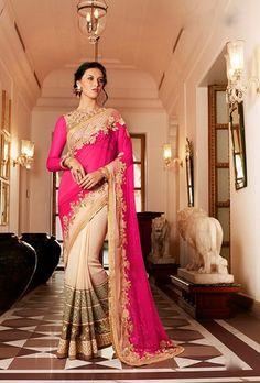 Pink And Beige Designer Saree - Desi Royale