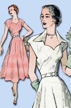 1950s Gorgeous Dress Pattern Easy to Make 1952 Butterick Sewing Pattern 34 B | eBay