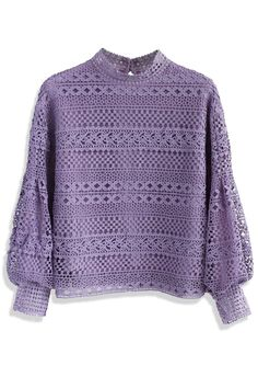 Autumnal Elegance Crochet Top in Purple - New Arrivals - Retro, Indie and Unique Fashion