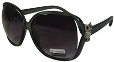 Womens Oversized Sunglasses Polycarbonate Lenses UV400 Protection with Bling Owl- Grey