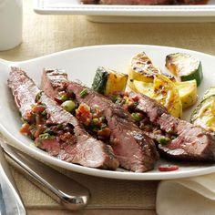 Loaded Flank Steak Recipe -I wanted to do something different with London broil, so I stuffed it with bacon, green onions and ranch dressing. The recipe is fast, but it's a little bit fancy, too. —Tammy Thomas, Mustang, Oklahoma
