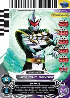 White Dino Power Rangers trading card