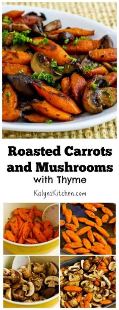 Cooked carrots don't get much respect, but I promise that these Roasted Carrots and Mushrooms with Thyme are amazing. Carrot Recipes, Vegetable Recipes, Whole Food Recipes, Vegetarian Recipes, Cooking Recipes, Healthy Recipes, Cooking Dishes, Vegan Meals, Vegan Desserts