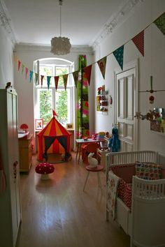 Love this room. This is the IKEA tent I'm buying Miles for his birthday! Girls Bedroom, Baby Bedroom, Kid Spaces, Kids Decor, Girl Room, Home, Circus Room, Circus Theme, Kids Bedroom Ideas