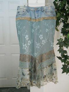 aqua  turquoise silk  jean skirt Renaissance Denim Couture by bohemienneivy