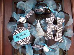 Turquoise and Black Zebra Deco Mesh Wreath by myfriendbo on Etsy, $100.00
