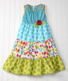 Take a look at this Turquoise Butterfly A-Line Dress - Toddler & Girls by Red Currant Kids on #zulily today!