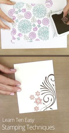 Getting into the stamping craze? Learn ten easy background stamping techniques to create your own custom patterned paper using stamps, inks, and tools.