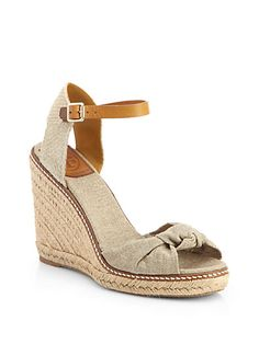 Macy Linen Espadrille Wedge Sandals - Zoom - Saks Fifth Avenue Mobile