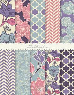 "Digital Paper, Floral Pattern Digital Scrapbook Paper Pack (8.5x11""-300 dpi) -- Instant Download -- 10 Digital papers -- 477"