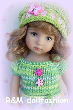 "R&M DOLLFASHION-BRIGHT LINE OOAK handknit set for EFFNER LITTLE DARLING 13"" doll"