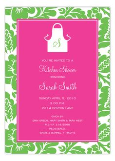 Polka Dot Pre-Wedding Invitations like this Pink and Green Monogram Apron Invitation from Prints Charming are exclusive ideas for the bride to be. Choosing custom printed invitations from Polka Dot Design is a big choice and we are here to respect that. Erin Green, Pink And Green, Bridal Shower Invitations, Crate And Barrel, Apron, Kitchen Shower, Monogram, Kitchen Supplies, Respect