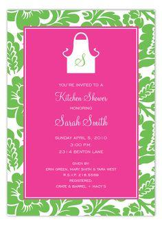 Pink and Green Monogram Apron Invitation