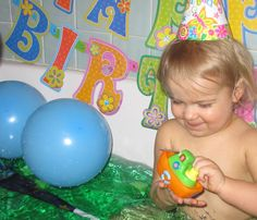 birthday party bath to end the day!