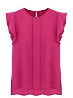 Rose Red Puff Sleeve Split Chiffon Blouse US$20.49