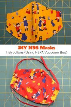 Homemade Respirator Mask Instructions (Using HEPA Vacuum Bag) - - Free pattern + instructions for how to make an anti-virus respirator mask using a HEPA vacuum cleaner bag as a filter. Diy Mask, Diy Face Mask, Face Masks, Sewing Hacks, Sewing Projects, Sewing Lessons, Sewing Diy, Sewing Tutorials, Diy Projects