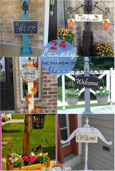 24 Lovely Front Porch Welcome Post Ideas That Will Make Your Guest Feel Greeted Welcome Post, Porch Welcome Sign, Flower Stands, Flower Boxes, Chalkboard Welcome Signs, Front Porch Posts, Hanging Flower Pots, Summer Signs, Relaxing Colors