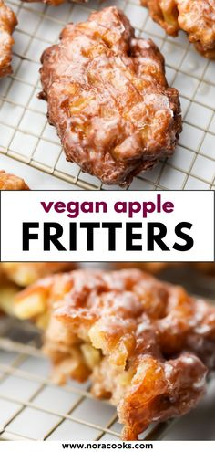 Apple Fritters are easy to make at home in 30 minutes or less with NO yeast! These crunchy, sweet donuts are vegan but no one would guess it. Full of fresh apples! Vegan Apple Fritter Recipe, Easy Apple Fritters Recipe, Apple Fritter Bread, Vegan Baking Recipes, Vegan Dessert Recipes, My Recipes, Cooking Recipes, Vegetarian Recipes, Chicken Recipes