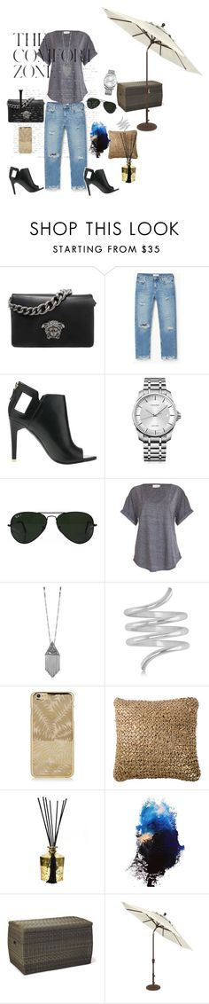 """Untitled #54"" by roxana27 ❤ liked on Polyvore featuring Versace, MANGO, Alepel, Calvin Klein, Ray-Ban, House of Harlow 1960, Allurez, D.L. & Co. and Ethimo"