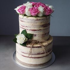 2 tiered semi naked wedding cake - Google Search