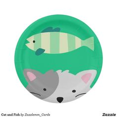 Cat and Fish Paper Plate  sc 1 st  Pinterest & Cat and Fish Napkin | Cats Cocktails and Fish