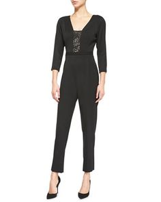 Rockwell Lace-Inset Gabardine Jumpsuit by Black Halo at Neiman Marcus.