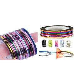 Striping Tape XXXL  10Pcs x 55 feet Mixed Colors Rolls by EuStore