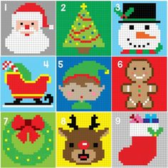 xmas crochet pixel blanket by Repeat Crafter Me. I love her work! Crochet Christmas Wreath, Christmas Afghan, Crochet Wreath, Holiday Crochet, Crochet Christmas Blanket, Crochet Christmas Stocking Pattern, Christmas Squares, Crochet Ornaments, Crochet Snowflakes