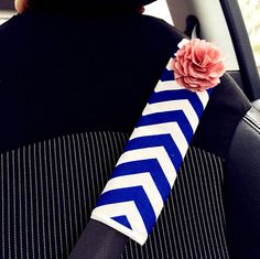 Car Automotive Seat Belt Cover blue chevron w/ Pink by CarSoda, $4.00