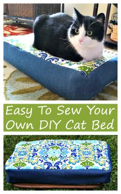 Keep your cats happy and comfortable with this Easy To Make DIY Cat Bed! This DIY project is easy to sew. Create this easy craft for your kitty today!