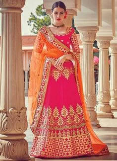 Magenta Orange Embroidery Work Silk Chiffon Designer Wedding Lehenga Choli http://www.angelnx.com/Lehenga-Choli/Wedding-Lehenga-Choli
