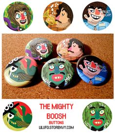 The Mighty Boosh Button Set by LilUFO on Etsy