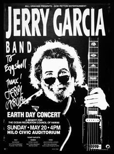 Jerry Garcia Band poster, Hilo, Hawaii May 1990