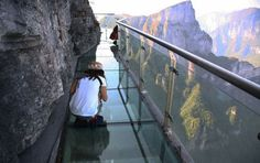 Glass skywalk at the Tianmen Mountain National Park in the Hunan province of China