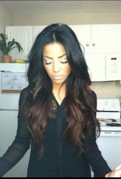 Ombre hair : Black hair with dark: