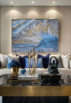 18 Spectacular White And Blue Living Room Ideas For Modern Home 16 - decorwoo Blue And Gold Living Room, Blue Living Room Decor, Glam Living Room, Living Room Designs, Living Rooms, Living Room Inspiration, Bathroom Inspiration, Room Colors, Interior Decorating