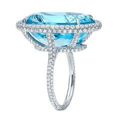 TAMIR Spectacular Aquamarine and Micro-Set Diamond Ring. | 1stdibs.com