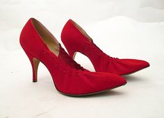 Fiery Lipstick Red 1950's Suede Pump Cocktail Shoes by wearitagain