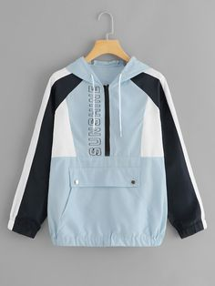 Kangaroo Pocket Color Block Jacket 2019 Casual Women Drawstring Spring Autumn Outer Long Sleeve Zip Up Hoodie Coat Blue XL Teen Fashion, Fashion News, Korean Fashion, Fashion Outfits, Korean Outfits, Sporty Outfits, Cool Outfits, Trendy Hoodies, Outerwear Women
