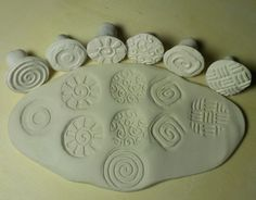 6 clay stamps / Textured pottery stamps / by PotteryTextureTools