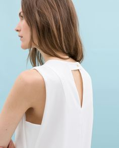 White Sleevless Dress from Zara Couture Details, Couture Tops, Blouse Neck Designs, Kurta Designs, Sleeves Designs For Dresses, Zara Dresses, Zara Women, Everyday Fashion, Spring Summer Fashion