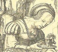 """Detail of """"Samson and Delilah"""", Lucas van Leyden 1507"""