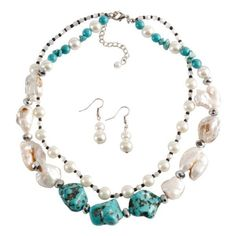 Beaded Shells Faux Turquoise Stones Necklace Set ❤ liked on Polyvore