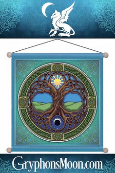 """Tree of Life Meditation Banner - Our meditation banners are beautiful and silky-soft, printed in full vivid color on sheer, flowing knit polyester. They look like silk, but are durable and long-lasting, and they are great for indoor or outdoor use. They have a decorative wooden pole at the top and bottom, and a string for easy hanging. Banner measures 15"""" by 15"""". #Celtic #CelticTree #Tree #CelticKnot #CelticKnotwork #TreeOfLife #Banner #Flag #CelticDecor #HomeDecor #IndoorBanner #OutdoorBanner Celtic Decor, Moon Logo, Wooden Poles, Celtic Tree, Great Father's Day Gifts, Outdoor Banners, Gifts For Nature Lovers, Dragon Art, Hanging Banner"""