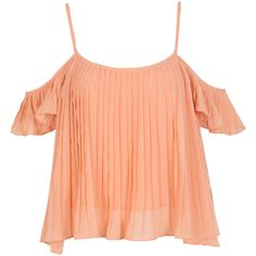 Coral Cold Shoulder Pleated Crop Cami Top (385 MXN) ❤ liked on Polyvore featuring tops, crop tank, camisole tank tops, cold shoulder tops, cropped camisoles and crop top